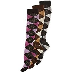 Lot de 3 paires de mi-bas en coton - motif carreaux - femme - lilas, gris, marron - taille 39/42