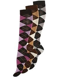 3 Paar oder 6 Paar Modische Damen Baumwoll Kniestrümpfe mit Karos von VCA®
