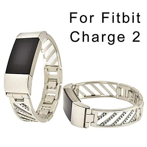 SYY Für Fitbit Charge 2 Armband, für Fossil Damen Smartwatch, Edelstahl Uhrenarmbänder, Edelstahl Metall Straps Ersatzband Uhrenarmband Wristband Zubehör (Silber)