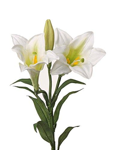 artplants Set 12 x Künstliche Oster-Lilie ERISA, weiß, 75 cm, Ø 8-11 cm - 12 Stück Kunstblumen/Künstliche Lilien