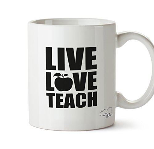 hippowarehouse Live Love Teach 283,5 Tasse, keramik, weiß, One Size (10oz) (Middle School Science Experimente)