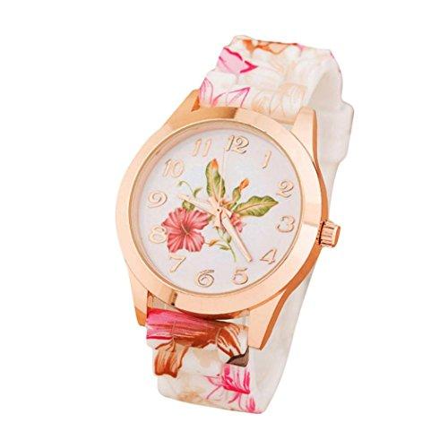 UNNSEAN Uhr,Frauen-Mädchen-Uhr-Silikon-Druckblumen-Verursachende Quarz-Armbanduhren Floral Elegant Damen Armbanduhr Mode Klassisch Armbanduhr (Orange)