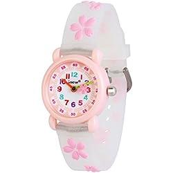 WOLFTEETH Grade School Niña reloj analógico reloj resistente al agua Sport Watch día escolar Christmmas regalo único correa de reloj Sakura Blanco 308305