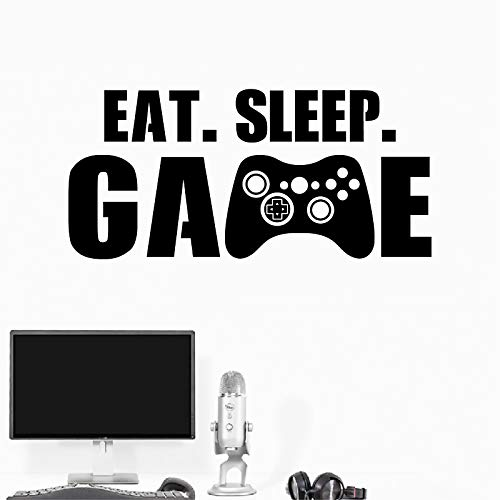 Eat Sleep Game Aufkleber Gaming Vinyl Aufkleber Controller Video Joystick Gamepad Gamer Wandkunst Design Teen Boys Schlafzimmer Dekoration, Schwarz, 120cmx56cm (Dekorieren-videos Kuchen)