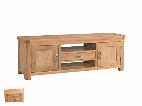 Bevel Natural Solid Oak Wide Plasma TV Unit - Large TV Cabinet with Shelves, 2 Doors and 1 Drawer - Finish : Light Oak - Living Room Furniture