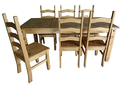 Mercers Furniture Corona 6 ft Dining Table and 6 Chairs - Pine