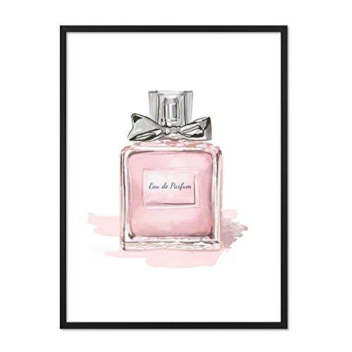 PHOTOLINI Design-Poster mit Bilderrahmen Schwarz 'Perfume' 30x40 cm Motiv Mode Dekoration Parfüm (Chanel Leinwand Bild)
