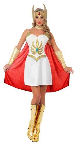 She-Ra Deluxe Kostüm Weiß mit Kleid-Latex-Brustteil Armmanschetten Latex-Kopfteil und Umhang, (She Ra Kostüm)