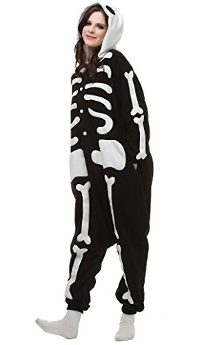 Kostüme Cartoon Halloween (Aivtalk Jumpsuit Tier Cartoon Onesie Schlafanzug Fasching Halloween Kostüm Sleepsuit Pyjama Cosplay Fleece-Overall Nachtwäsche Erwachsene Unisex Kigurumi Tieroutfit - Schwarz)