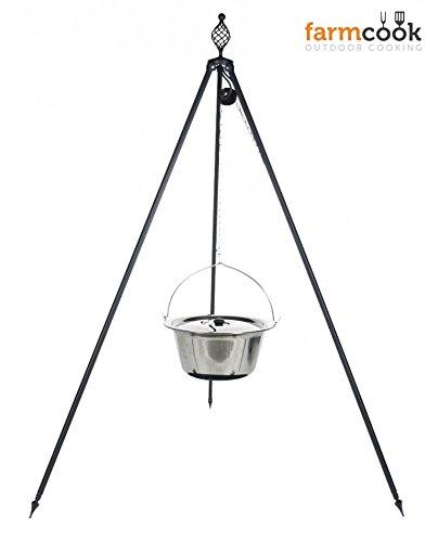 Dreibein Grill OSKAR Höhe 210cm + Kessel 14 Liter aus Edelstahl