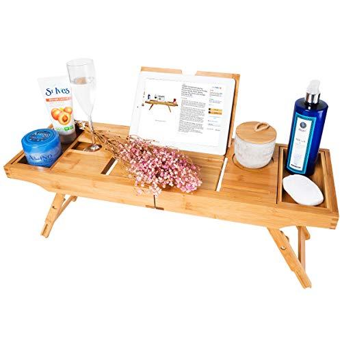 Bambus Badewannenablage Caddy Tablett (erweiterbar) Luxus Spa Organizer mit ausziehbaren Seiten |...