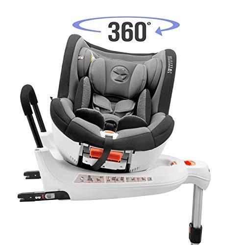 Kinderautositz Drehbar 0-18kg, 360°, Isofix, Gruppe 0+/1, ECE R44/4 Norm (Maximale Sicherheit für Ihr Kind) - Reboarder 0+ 1, Drehbar und neigbar mit Sitzerhöhung - Autositz für Babys und Kinder