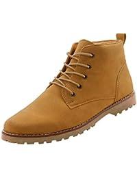Gleader Nueva moda britanicos para hombre Casual de encaje gamuza Botines Mocasines Zapatillas de deporte Amarillo ( Tamano:41 )