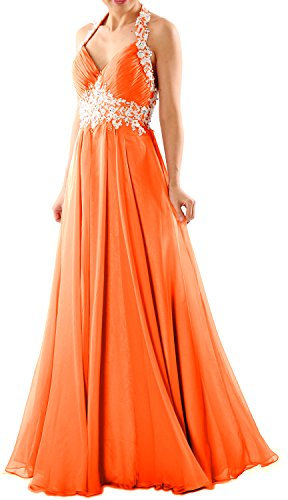 MACloth Women Halter V Neck Lace Chiffon Long Prom Party Dress Fromal Ball Gown Koralle