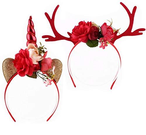 Creatwls Weihnachtsgeschenk Kopfschmuck für Kinder Erwachsene Geburtstag Party Dekoration Haarschmuck Kreatives Stirnband Leichtes Haarband mit weihnachtlichem Geweih und Einhorn-Design - Erwachsene Weihnachten Elfen Kostüme