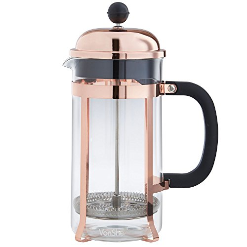 VonShef 8 Cup/1 Litre/1000ml Copper French Press Cafetiere Glass Coffee Maker