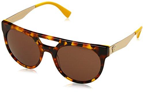 Versace 0ve4339 524973, occhiali da sole uomo, giallo (havana/yellow/brown), 55