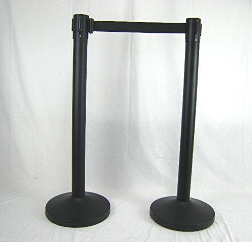 Preisvergleich Produktbild 2x Absperrpfosten Absperrständer schwarz mit Gurt - Band Personenleitsystem