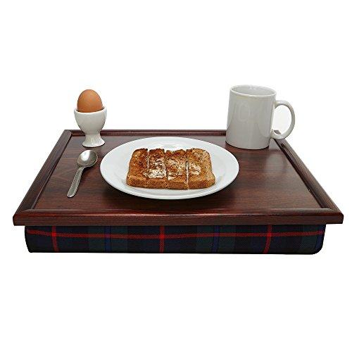 Luxus Blau Tartan Holz Sitzsack Knietablett Standfester Tisch Bett Schreibtisch–Kissen...