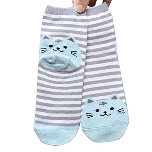 Striped Cartoon Socken Frauen Katze Fußabdrücke Baumwollsocken Boden (70er Socken)