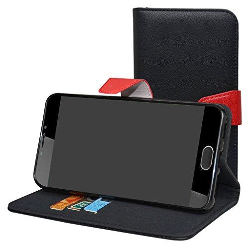 Mama Mouth Liquid Z6 Plus Hülle, Brieftasche Schutzhülle Case Hülle mit Kartenfächer und Standfunktion für Acer Liquid Z6 Plus Android 6.0 Smartphone,Schwarz