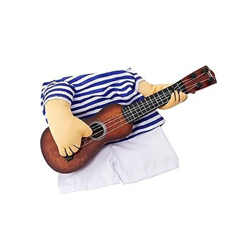 Gazechimp Vêtement de Chien de Halloween avec Guitare en Polyester pour Animaux de Compagnie en Fête Soirée Mariage - Bleu,
