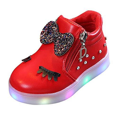TPulling Mode Herbst Und Winter﹛12M-6T﹜Kinder Mädchen Jungen Warme Bogen Strass﹛LED Blinkende﹜Weichen Sportschuhe Turnschuhe Freizeitschuhe Beleuchtung Schuhe Kurze Stiefel (Rot, EU:27)