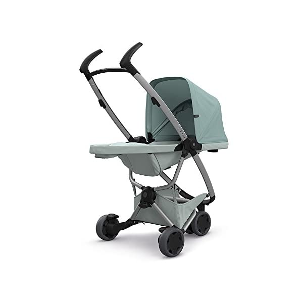 Quinny Zapp Flex Design 2018 Frost on Grey Quinny Flexible reversible seat in both Blick directions down to a horizontal lying position. Three Compact wheels - extremely manoeuvrable Classic Zapp handles - Super Strong Hold, easy to steer 4