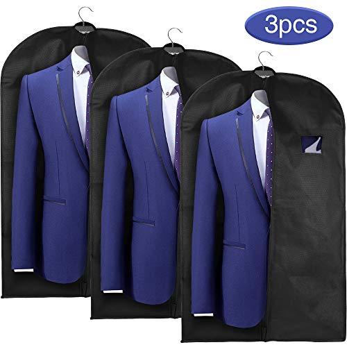 esomus Housses de Vêtement 3PCS 128x60cm Noir Housse de Costume Anti Poussière étanche à l'humidité Non Tissé avec Fenêtre en PVC