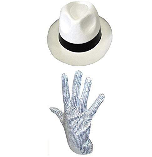 Sombrero del Rey del pop con su guante blanco de purpurina blanco blanco/negro