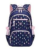 LAIDAYE Qualität Mädchen Kinder Schultasche Rucksack Wasserdicht Und Leicht 8-12 Jahre Alt Große Kapazität 3-6 Klasse Grundschüler Schultasche Reise Rucksack Upgrade,Darkblue-OneSize