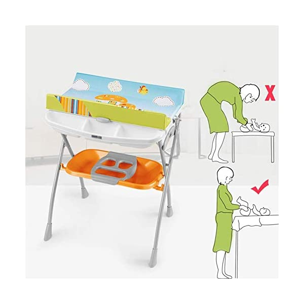 Changing Table Baby Changing Table Foldable Bathing Station with Pad Newborn Massage Care Station Table Infant Changing Unit for Household Travel (Color : B) Changing Table ●Foldable changing table- Easily fold it if you finish all the tasks,With its space saving design, you can store it behind a door, it will make life a little easier for parents. ●Size and Safe and Stable- L78 x W68 x H103cm,Suitable for babies weighing less than 25kg,With seat belt,Changing pad has a restraining strap for added safety and is made of easy to clean, soft ●2-in-1 design- Baby changing table can be used as baby massaging table as well. It is designed at the proper height of parent to prevent mom's back aches and pains from kneeling or bending when changing diapers to babies. 8