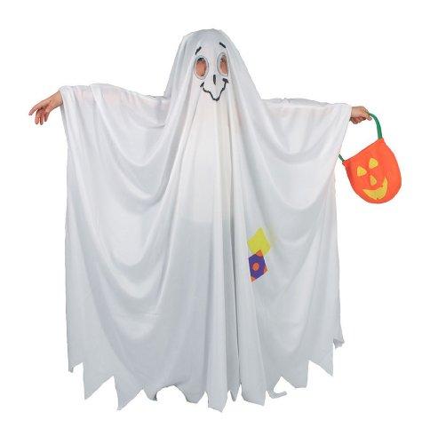 Gespenst Kostüm mit Kürbis Tasche für Kinder Gr. 110-146, (Geist Mitternacht Kostüme)