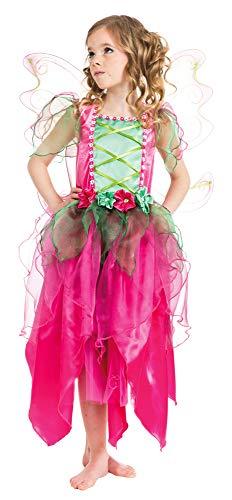 Mädchen Kostüm Blumen - Hochwertiges Fee Flower Kostüm für Mädchen - Pink Grün - Gr. 152