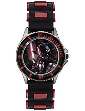 Star Wars Kinder Quarz-Uhr mit Zifferblatt Analog-Anzeige- und Schwarz Gummiband dar3644