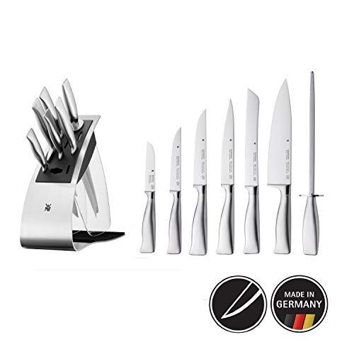 WMF Grand Gourmet Messerblock mit Messerset 7teilig, Spezialklingenstahl, Made in Germany, 5 Messer geschmiedet, 1 Wetzstahl, Edelstahl-Block, Performance Cut