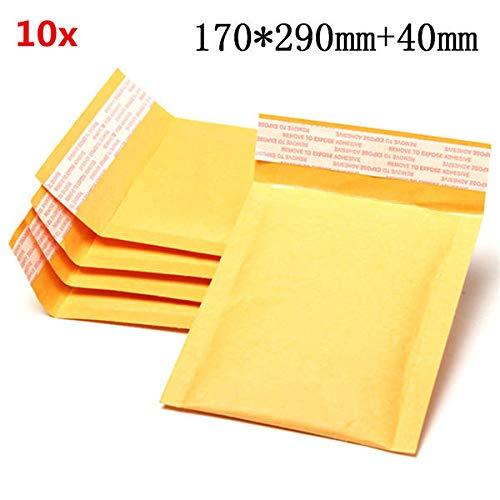 Anddod 10pcs 170 * 290mm+40mm Bubble Envelope Yellow Color Kraft Paper Bag Mailers Envelope