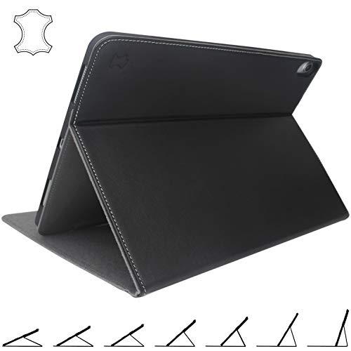 iPad Pro 12.9 2018 Hülle Echt Leder Case - mit Sichern Multi-Winkel Ständer für 3. Generation 12.9 Zoll (Schwarz)