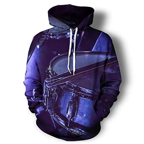 Schlagzeug-Musikinstrument-3D ganz über Druck Hoodies Hip Hop-Art-Pullover Drums Purple Hoodie XXL