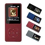 MP3-Player, 8 GB MP3-Musik-Player-Unterstützung 128G TF-Karte,70 Stunden Wiedergabe Lange Akkulaufzeit, HiFi-Klangqualität mit Multifunktion,FM-Radio,Diktiergerät,kommen sie mit kopfhörer,Rot -