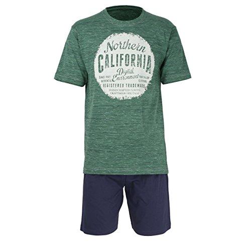 TOM TAILOR Underwear Herren Shorty, Rundhals Zweiteiliger Schlafanzug, Blau (Green Multicolored 8550), Large (Herstellergröße: 52/L) -