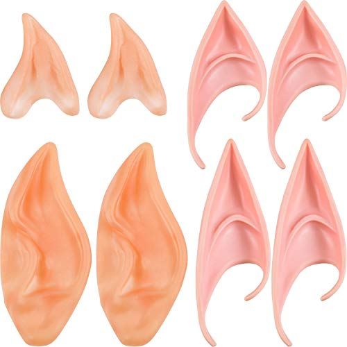 4 Paar Elfenohren Feenhafte Pixie Weiche Ohren Latex Alien Ohren Halloween Cosplay Zubehör Gezeigte Prothese Ohren für Maskerade Anime Party Halloween Party