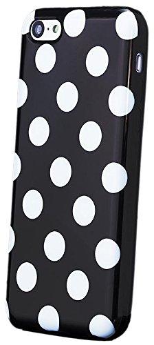 iCues Apple iPhone 5C |  Polka Dots TPU Case Schwarz | [Display Schutzfolie Inklusive] Damen Frauen Mädchen Silikon Gel Motiv Muster Schutzhülle Hülle Cover Schutz Black