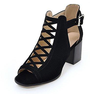 LvYuan Da donna-Sandali-Formale Casual Serata e festa-Alla schiava-Quadrato-Felpato-Nero Verde Beige Black