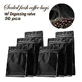 Bolsas de café de aluminio con válvula desengrasante, bolsa de almacenamiento con cierre hermético, bolsas de almacenamiento selladas para café en polvo, 50 unidades, 8 oz de negro mate