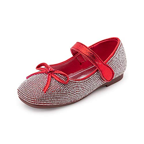 Aegilmc Girls Flat Ballet Pumps Velcro Glitter Rhinestone,18-36 Month Kids Mary Jane-Style Princess Shoes,red,9.0US (Silber Glitter Ballet Pumps)