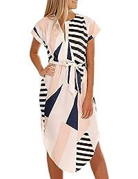 0c75db35504401 Bequemer Laden Damen Kleid Sommerkleid Kurzarm V Ausschnitt Strandkleid  Partykleid Casual Midi Kleid Unregelmäßig Saum mit