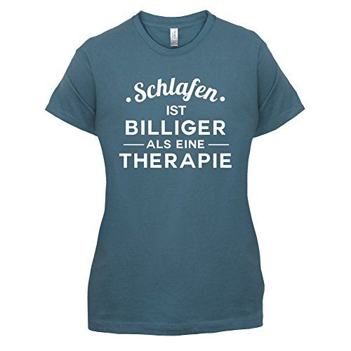 Schlafen ist billiger als eine Therapie - Damen T-Shirt - 14 Farben Indigoblau