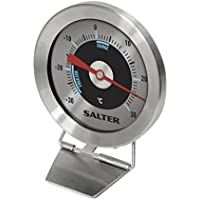 Salter Analogue Fridge Freezer Thermometer, Measure -30 C to +30 C, Keep Food Fresh, Hang or Stand, Stainless Steel Body, Bi-Metal Sensor for Accurate Temperature Readings, 2 Year Guarantee - Silver