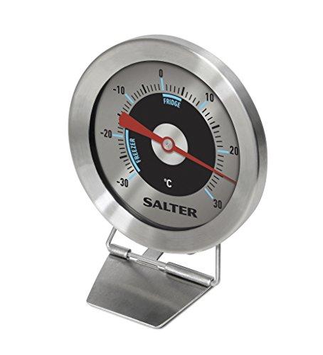 SALTER analoges Thermometer füf Kühl- und Gefrierschrank, Temperaturbereich,30 bis 30°C, Edelstahl Gehäuse, Bimetall Sensor für exakte Ergebnisse